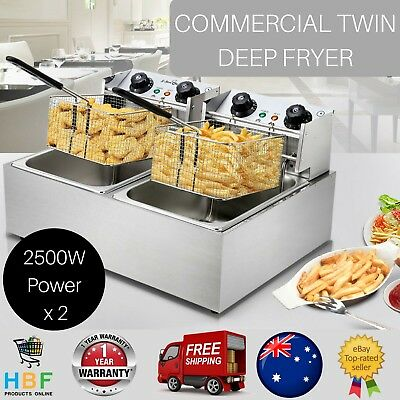 Commercial Deep Fryer Electric Cooker Twin Basket Frying Stainless Steel 2500W