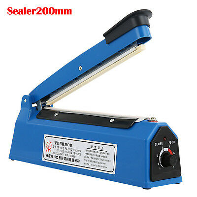 "300W 200mm 8"" Impulse Heat Sealer PE PP Plastic Film Sealing Machine Food Bag"