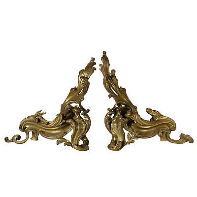 Pair of Andirons Gilded Bronze Louis Philippe Italy First Half of 1800