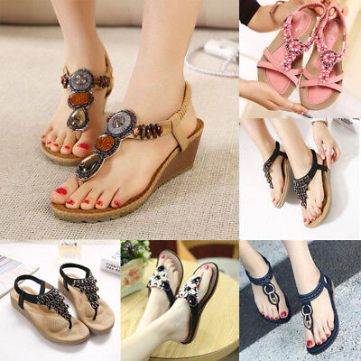 Women's Sandals Summer Clip Toe Bohemia T-Strap Casual Beach Thong Shoes NEW