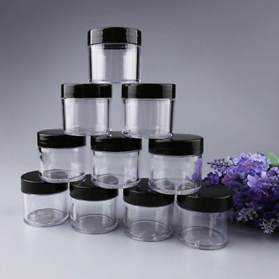 10pcs Clear Plastic Cosmetic Sample Container 30g Jars Pot Small Empty