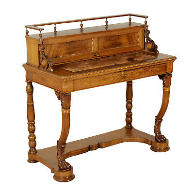 Writing Desk Cathedral Walnut Veneer Manufactured in Italy First Half of 1800
