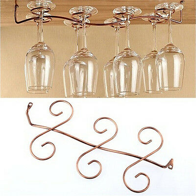 6/8 Wine Glass Rack Stemware Hanging Under Cabinet Holder Bar Kitchen Screws ''