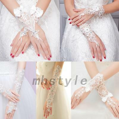 Exquisite Bride Wedding Party Dress Fingerless Pearl Satin Bridal Lace Gloves MH