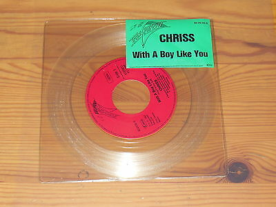 Chriss - With A Boy Like You / Clear Vinyl 7'' Single Mint- 1987