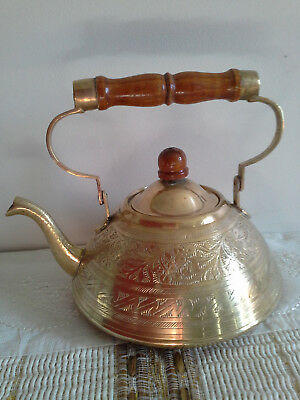 Vintage Brass HandmadeTeapot Wooden handles decorative