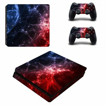 Red and Blue Cosmic Nebular Protective Vinyl Skin Decal For PS4 Pro Slim Console