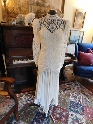 Stunning Vintage Draped Wedding Dress With Heavy Lace Top And Draped Skirt Sz 10