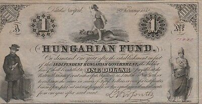 Hungary 1 Dollar Banknote,1852 About Uncirculated Condition Cat#S-136-A-13442