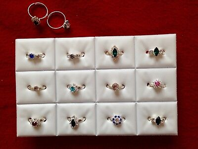 JOBLOT-12 kids rings - 6 styles of crystal/colour diamante. Silver plated.