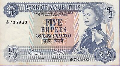 Mauritius 5 Rupees Banknote 1967 About Uncirculated Condition Cat#30-C-735983