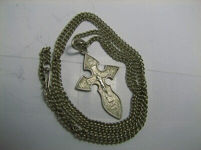 CRUCIFIXION SAVE & PROTECT PRAYER OLD VINTAGE STERLING SILVER CROSS w CHAIN #270
