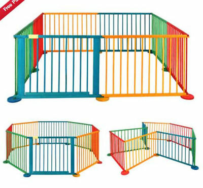 Children Wooden Foldable Baby Playpen Play Pen Large Room Divider Heavy Duty NEW