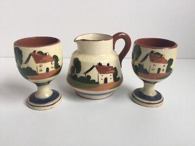 Torquay pottery Watcombe egg cups thatched cottage x2 And A Milk / Cream Jug