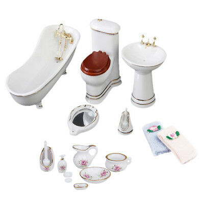 1/12 Dollhouse Miniature Bathroom Furniture Kit Porcelain Bathtub Toilet Set