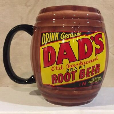 """Dads Old Fashioned Draft Root Beer 5"""" Tall Ceramic Barrel Mug Cup Stein Soda Pop"""