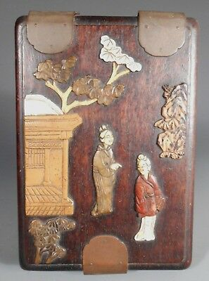 China Chinese Zitan Wood Cover Box w/ jade Insert Figures & Bat Decor ca. 1900