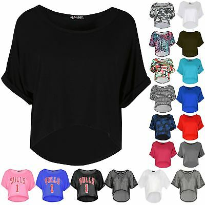 Ladies Turnup Cap Sleeve Mini Top Womens Plain Loose Hi Lo Baggy Cropped Top