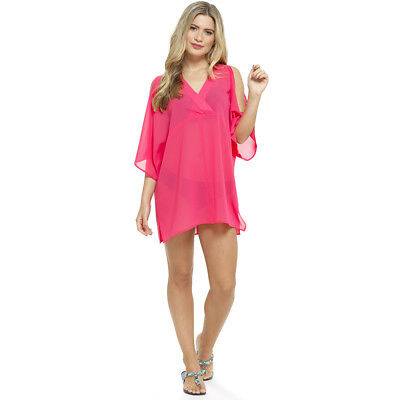 Octave Ladies Cold Shoulder Chiffon Kaftan Bikini Swimsuit Beach Cover Up