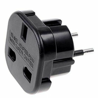 Adaptador de Enchufe de UK a Enchufe Europeo Negro - G