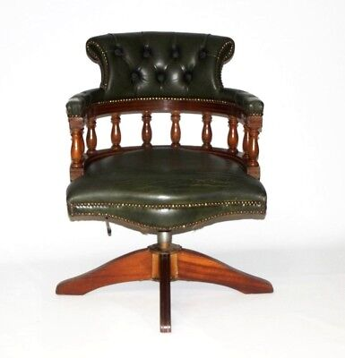 Vintage English Hand made Leather Captains Desk Chair