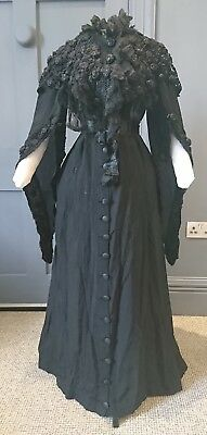 Antique 1900s / Edwardian Mourning Peignoir By Court Dressmaker To Queen Mary