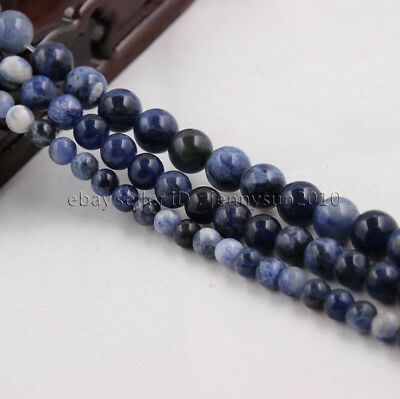 Natural Sodalite Jasper Gemstone Round Beads 15'' 4mm 6mm 8mm 10mm 12mm 14mm