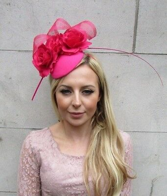Hot Pink Rose Flower Feather Pillbox Hat Hair Fascinator Wedding Races 5655