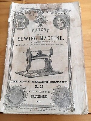 1867 Paperback History Of The Sewing Machine, James Parton, Howe Machine Co.