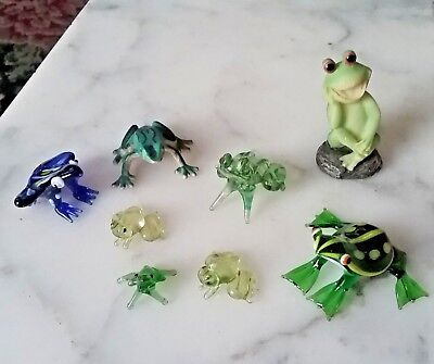 Assortment Of  Glass Frogs Figurines Glass, Plastic, Resin