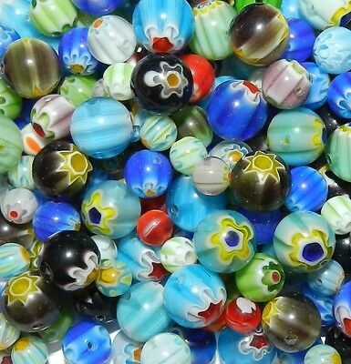 GL3382 Assorted Mixed Color Flower 4mm - 10mm Millefiori Round Glass Beads 4oz