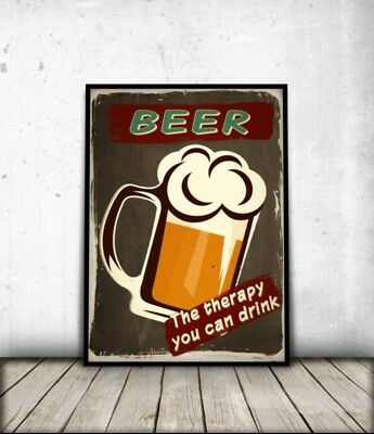 BEER QUOTE Art Print Retro Vintage Funny Poster Pub Home Decor Gift A3/A4 +FRAME