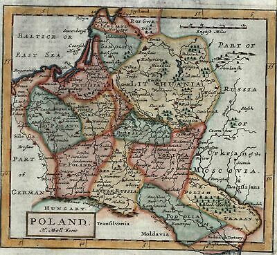 Poland Lithuania Russia 1709 Moll old map lovely hand color