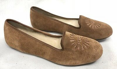Ugg Australia Alloway Chestnut Smoking Loafers Shoes Flats 1001632 Suede Slip On
