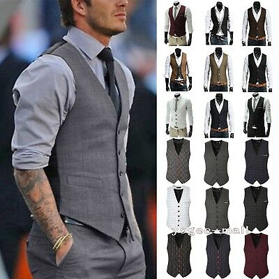 Mens Waistcoat Wool Mix Herringbone Tweed Check Velvet Collar Jacket Formal Vest