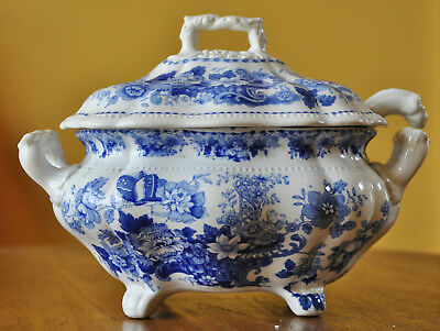 Lovely Antique Blue Transferware Lidded Sauce Tureen & Ladle Ridgway Tuscan Rose