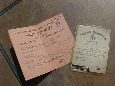 Original Wwii Us Mini Discharge Paper And 1945 Port Antwerp Dock Pass