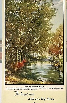 PEACEFUL COUNTRY STREAM INK BLOTTER 1940s 6-1/2 x 4""