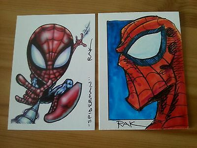 Spiderman Hand Drawn Original Art Colour Sketch Art Card By Rak Psc Marvel Aceo