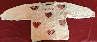 Children's hand knitted sweater 100% cotton hearts pattern