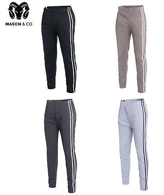 Mens Track Pants Striped Joggers Gym Sweatpants Slim Fit Cuffed Bottoms