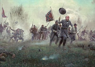 Pickett's Charge, Confederate, Battle of Gettysburg, Military Civil War Postcard