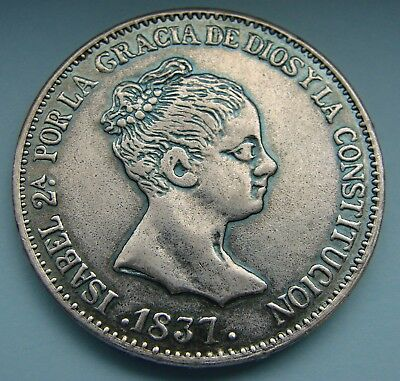 *scarce 1837 Spain Spanish Isabel 20 Reales Silver Coin - Estate Fresh*
