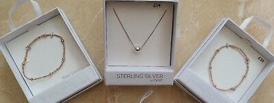 NEW Next Sterling 925 Rose Gold Ball Necklace Bracelets Set Box RRP £54