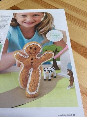 Felted Gingerbread Man Finger Puppet Knitting Pattern 299