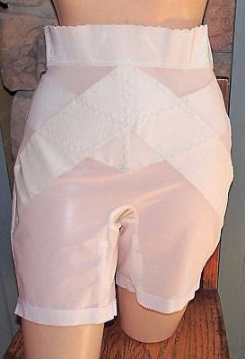 Crownette Vintage Long Leg Zipper Girdle 4 Metal Garters White Pinup Retro 5XL