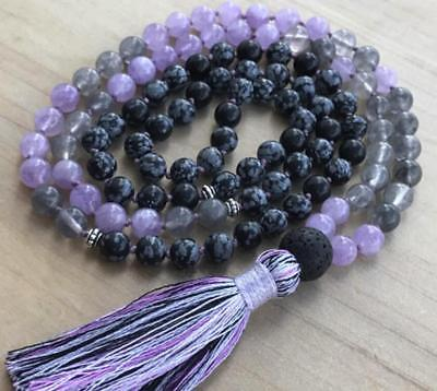 6MM Natural Lavender Amethyst gemstones Mala knotted Necklace Prayer Beads