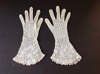 Lovely Hand Made LACEY CROCHETED Ladies Gloves by Wong Tong  circa Mid Century