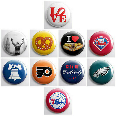 """PHILADELPHIA PRIDE - city pinback buttons - Philly icons - 10 total 1"""" pins"""