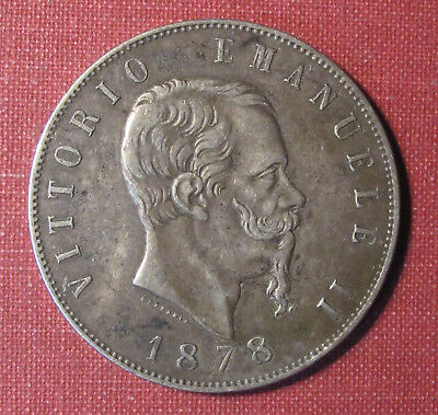 1878R Italy 5 Lire - Nicely Toned Crown Sized Silver Coin, Great Details!